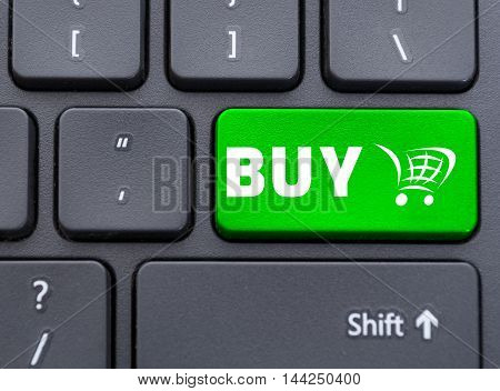 Green Buy With Shopping Cart Symbol Button