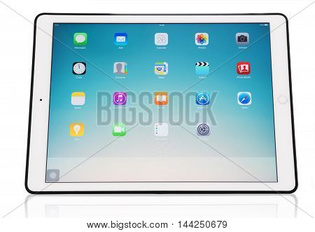 THAILAND - 26 AUG -  Apple new iPad Pro displaying iOs 9.3.4 homescreen, product designed by Apple in California on August 26, 2016