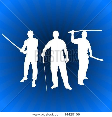 Karate Sensei with Sword on Glowing Blue Background Original Illustration