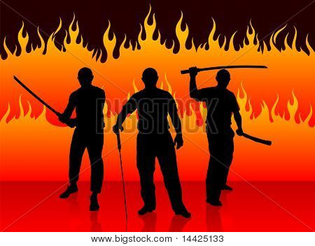 Karate Sensei with Sword on Fire Background Original Illustration