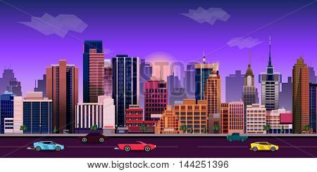 city game background 2d game application. Vector Illustration for your application , project. size 1024x512