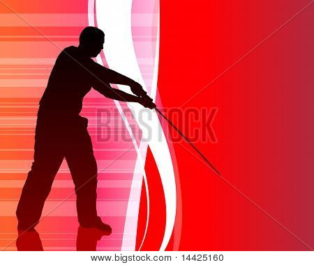 Karate Sensei with Sword on Abstract Internet Background Original Illustration