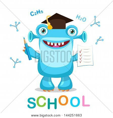 Funny Monster And Text Back To School On A White Background Vector Illustrations. Education Theme. Cartoon Monster Mascot.