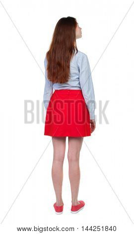 back view of standing young beautiful  woman.  girl  watching. Rear view people collection.  backside view of person. Long-haired brunette in red skirt looks sideways.