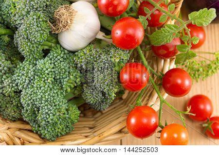 Broccoli Tomato And  Onions In A Bowl
