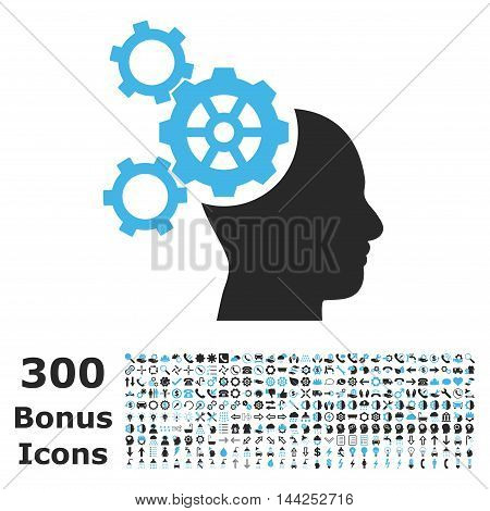 Brain Mechanics icon with 300 bonus icons. Vector illustration style is flat iconic bicolor symbols, blue and gray colors, white background.