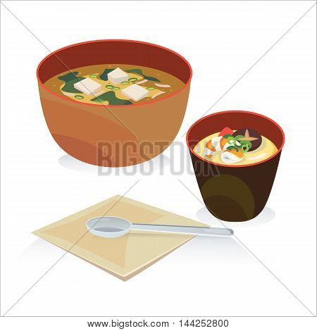 A bowl of miso soup and a bowl of mole egg with spoon and tissues.