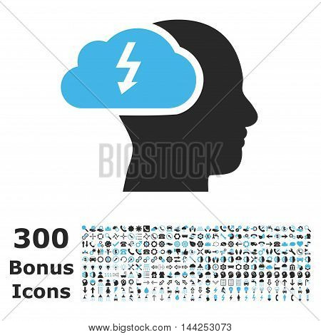 Brainstorming icon with 300 bonus icons. Vector illustration style is flat iconic bicolor symbols, blue and gray colors, white background.
