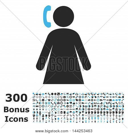 Calling Woman icon with 300 bonus icons. Vector illustration style is flat iconic bicolor symbols, blue and gray colors, white background.