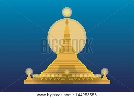 vector of Shwedagon pagoda Myanmar on blue background