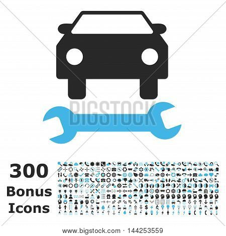 Car Repair icon with 300 bonus icons. Vector illustration style is flat iconic bicolor symbols, blue and gray colors, white background.
