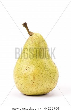 Standing mature pear in front of white background