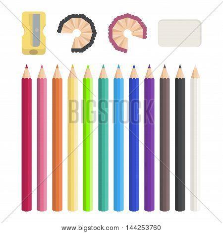 Colored pencils, sharpener,  white eraser. Vector illustration.