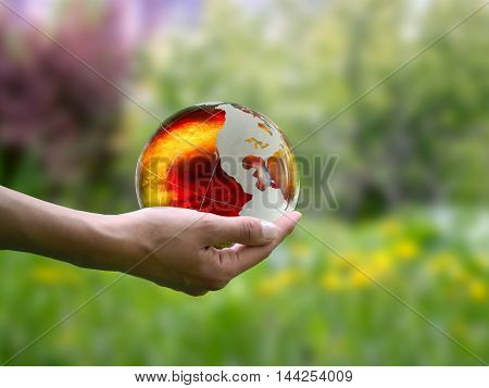 Large, Luminous Ball On A Female Hand. The Concept Of The Death Of The Planet, Global Disaster, Envi