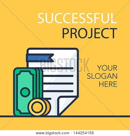 Successful investing concept. Bank holding. Financial budget banner. Money coins with document. Earnings and payments symbol. Vector