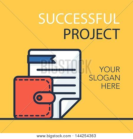 Successful investing concept. Bank holding. Financial budget banner. Money purse with document. Earnings and payments symbol. Vector