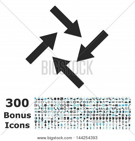 Centripetal Arrows icon with 300 bonus icons. Vector illustration style is flat iconic bicolor symbols, blue and gray colors, white background.