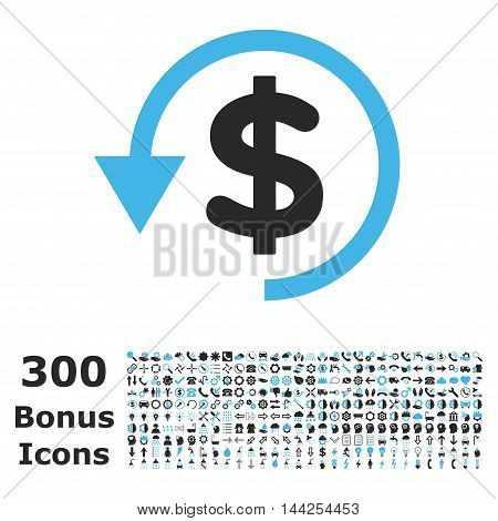 Chargeback icon with 300 bonus icons. Vector illustration style is flat iconic bicolor symbols, blue and gray colors, white background.