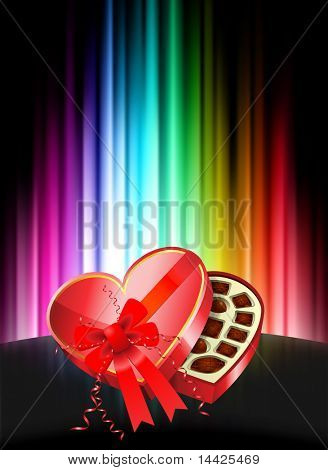 Chocolates on Abstract Spectrum Background Original Illustration