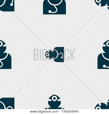 Doctor With Stethoscope Around His Neck Sign. Seamless Pattern With Geometric Texture. Vector