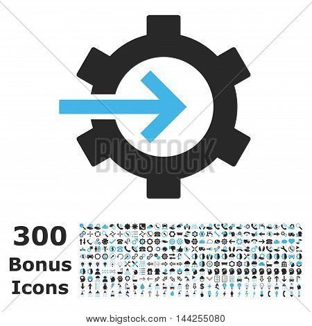 Cog Integration icon with 300 bonus icons. Vector illustration style is flat iconic bicolor symbols, blue and gray colors, white background.