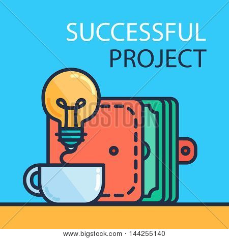 Successful investing concept. Bank holding. Financial budget banner. Money from idea purse. Patent symbol. Vector