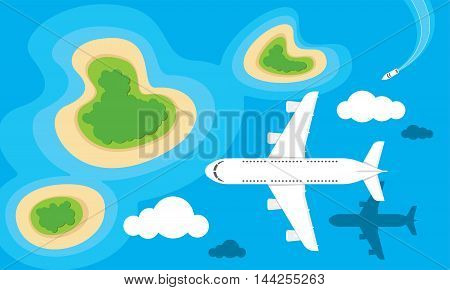 Vector illustration of an airplane flying over islands