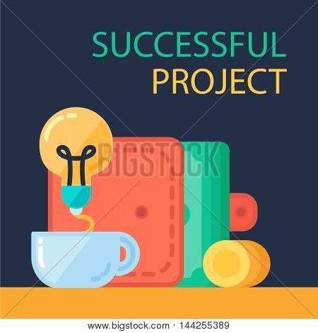 Successful investing concept. Bank holding. Financial budget banner. Money coins from idea. Patent symbol. Vector