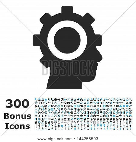Cyborg Gear icon with 300 bonus icons. Vector illustration style is flat iconic bicolor symbols, blue and gray colors, white background.