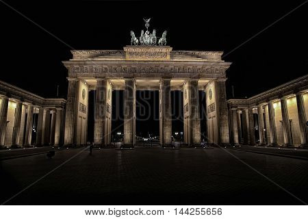 Brandenburg gate at night in Berlin Germany