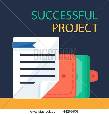 Successful investing concept. Bank holding. Financial budget banner. Money in purse document. Earnings and payments symbol. Vector