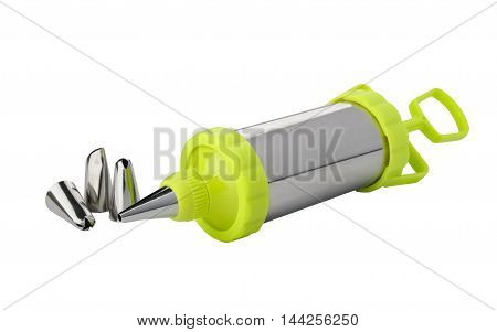 Culinary syringe with nozzles on a white background