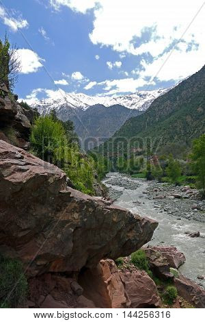 Beautiful view of Atlas mountains and waterfall. MOROCCO.
