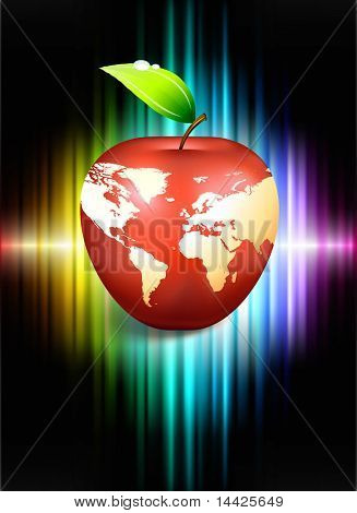 Apple Globe on Abstract Spectrum Background Original Illustration