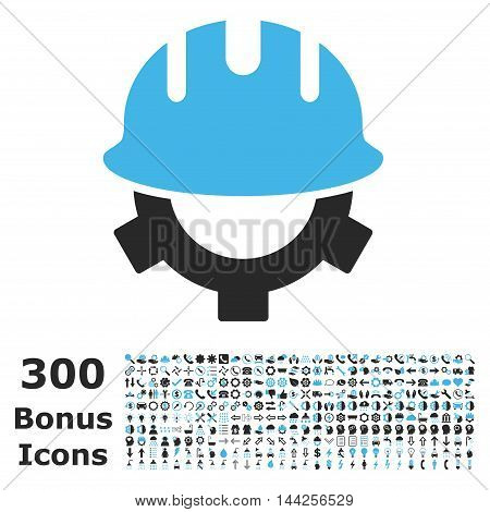 Development Helmet icon with 300 bonus icons. Vector illustration style is flat iconic bicolor symbols, blue and gray colors, white background.