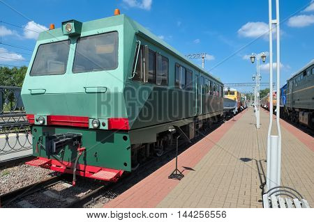 MOSCOW, RUSSIA - JUNE, 23 2016: Museum of Railway Transport of the Moscow railway Diesel railcar defectoscopic AMD-Z-001 released in 1999