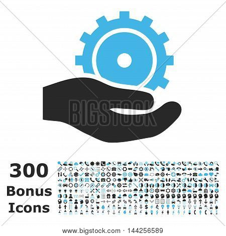 Development Service icon with 300 bonus icons. Vector illustration style is flat iconic bicolor symbols, blue and gray colors, white background.