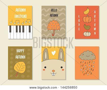 Cute doodle autumn cards brochures invitations with piano notes umbrella pumpkin leaf rabbit heart cloud rain Cartoon objects animals background Printable templates set