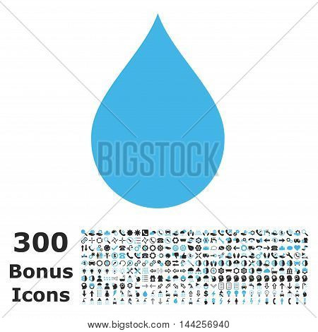 Drop icon with 300 bonus icons. Vector illustration style is flat iconic bicolor symbols, blue and gray colors, white background.