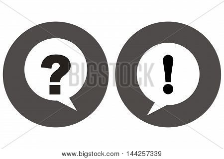 Question mark and exclamation point icon isolated background discussion