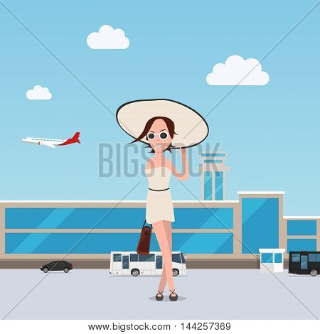 Girl goes throung the airport with luggage. EPS 10. vector
