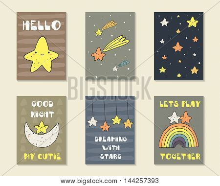 Cute hand drawn doodle baby shower cards brochures invitations with stars falling star moon rainbow starry sky. Cartoon characters background. Printable templates tags set