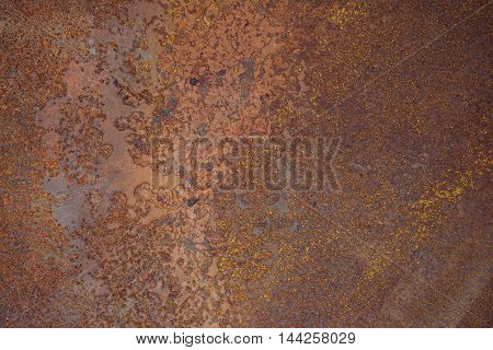 Steel walkway mats sprayed red rust.Iron surface rust