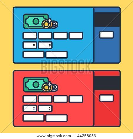 Web Template Web Elements for site form of online shopping and enter card data. Vector