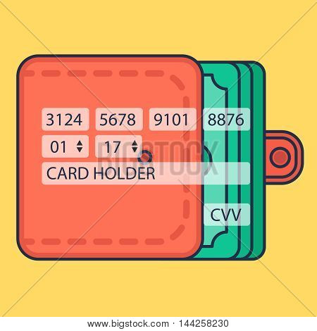 Web Template Web Elements for site form of online shopping and enter card data in view purse. Vector