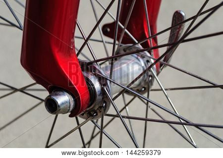 Red Bicycle Metal Wire Spokes And Axle
