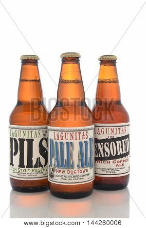 IRVINE CALIFORNIA - AUGUST 25 2016: Lagunitas Brewing Company Ales. The Lagunitas Brewing Company was founded in 1993 in Lagunitas California.