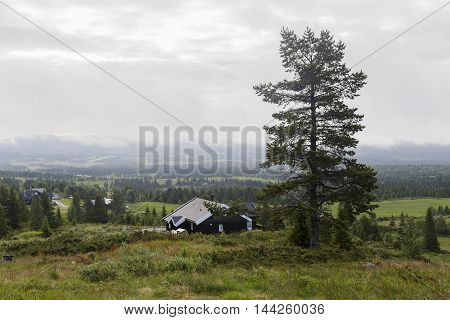 It is the Norwegian village not far from the Hardangervidda plateau early summer morning.