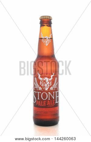 IRVINE CALIFORNIA - AUGUST 25 2016: Stone Pale Ale. From the Stone Brewing Company in Escondido the largest brewery in Southern California.