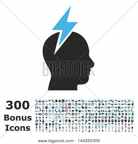 Headache icon with 300 bonus icons. Vector illustration style is flat iconic bicolor symbols, blue and gray colors, white background.